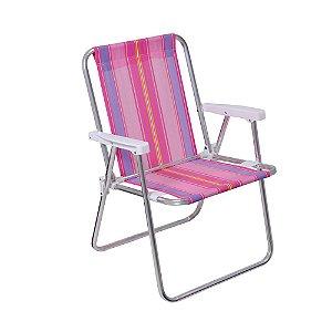 Cadeira De Praia Alta Mor Em Alumínio
