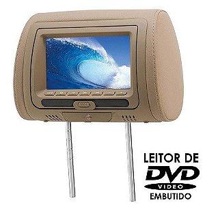 Encosto de Cabeça KX3 Tela LCD 7 Pol DVD728 Bege