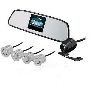 Espelho Retrovisor KX3 com Sensor e Câmera Prata