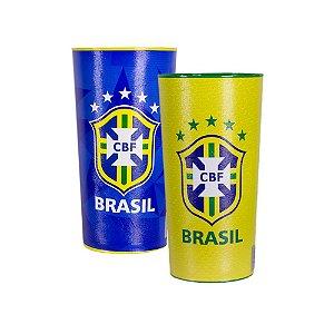 Kit com 2 Copos Oficiais Colecionáveis Brasil CBF Copa do Mundo 2018 Amarelo e Azul