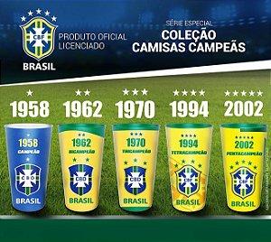 Kit Copos Oficiais Colecionáveis Brasil Penta Coleção Camisas Campeãs