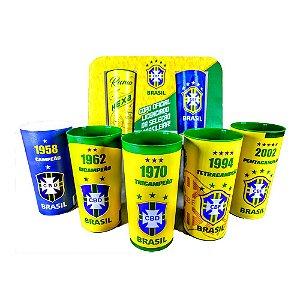 Kit com 7 Copos Oficiais Colecionaveis CBF Selecao Brasileira