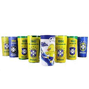 Kit com 8 Copos Oficiais Colecionáveis CBF Seleção Brasileira