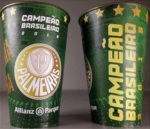 Kit com 2 Copos Oficiais Colecionáveis Palmeiras Campeão Brasileiro 2018 - 500ml