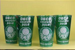Kit com 4 Copos Oficiais Colecionáveis Palmeiras Deca Campeão 2018 com LED