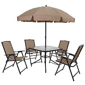 Conjunto Acapulco Mor 4 Cadeiras 1 Mesa 1 Guarda-Sol