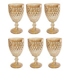 Jogo 6 Taças Bico de Abacaxi Metalizada Dourada