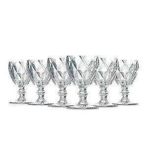 Jogo 6 Taças Bico de Diamante 280ml Transparente