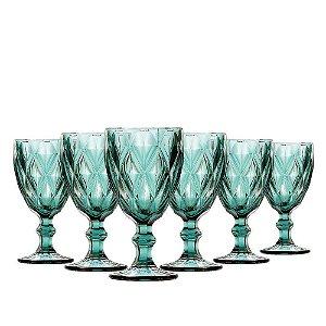 Jogo 6 Taças Bico de Diamante 280ml Azul Tiffany