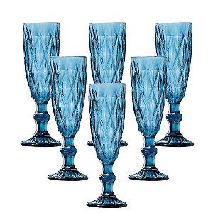 Taça para Champanhe Bico Diamante Azul Tiffany
