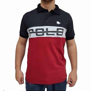 Camisa Polo RG518 de Malha Estampada Bicolor