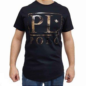 Camiseta Polo RG518 de Malha Estampada Fóil
