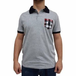KIT com 3 Camisetas Polo Listrada de Malha C/ Bolso Xadrez