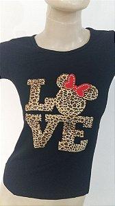 Camiseta Básica Preta com Strass