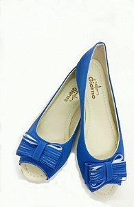 Sapatilha Peep Toe Azul Giorno