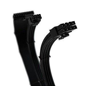 Kit 3 Cabos Sleeved Rise Mode Full Black - RM-SL-01-FB