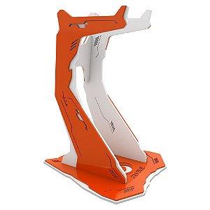 Suporte para Headset Rise Gaming Venon Pro Branco e Laranja Grande - RM-VN-02-WO