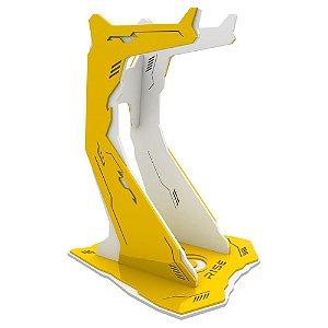Suporte para Headset Rise Gaming Venon Pro Branco e Amarelo Grande - RM-VN-02-WY