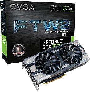 Placa de Video EVGA NVIDIA GEFORCE GTX 1070 FTW2 DT GAMING 8GB GDDR5 256 BITS SENSOR TÉRMICO RGB LED