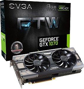 Placa de Video EVGA NVIDIA GEFORCE GTX 1070 FTW GAMING 8GB GDDR5 256 BITS ACX 3.0 & RGB LED