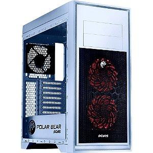 Gabinete Pcyes POLAR BEAR Mid-Tower COM 3 FANS LED RGB LATERAL EM ACRÍLICO