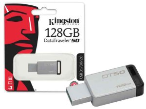 Pen Drive Kingston 128GB DATATRAVELER 50 128GB METAL PRETO USB 3.1 DT50