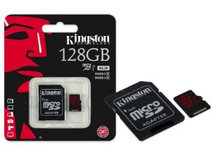 Cartão De Memoria Kingston CLASSE 10 MICRO SDXC 128GB UHS-I U3 COM ADAPTADOR SD