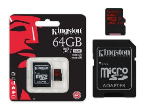Cartão De Memoria Kingston CLASSE 10 MICRO SDXC 64GB UHS-I U3 COM ADAPTADOR SD