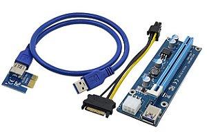 Cabo Riser VER006C PCI 16x Mini PCI-E 60cm - Cabo USB U34 - Para Mineração