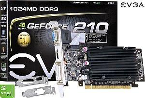 Placa de Video EVGA NVIDIA GEFORCE G 210 1GB DDR3 64 BITS PCI-E 2.0 DVI-D/HDMI/VGA