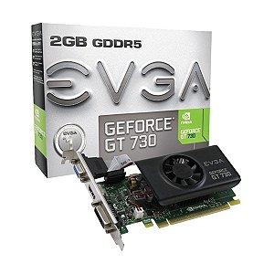 Placa De Video EVGA Nvidia GEFORCE GT 730 2GB GDDR5 64 BITS PCI-E 2.0 DVI-D/HDMI/VGA 02G-P3-3733-KR - EVGA