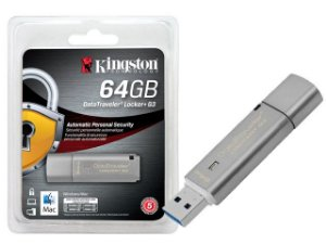 Pen Drive Kingston 64GB DATATRAVELER 64GB LOCKER+ G3 USB 3.0 DTLPG3 CRIPTOGRAFIA