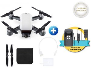 Drone DJI SPARK WHITE ALPINE + 01 BATERIA EXTRA + HUB CARREGADOR P/ 03 BATERIAS