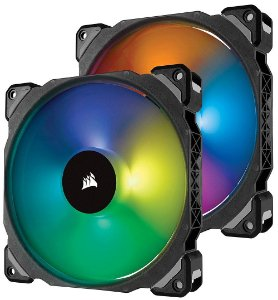 Case Fan Corsair ML140 PRO RGB 140MM PREMIUM C/ LEVITAÇÃO MAGNÉTICA + LIGHTING NODE 2Un - CO-9050078-WW