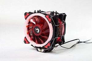 Cooler Para Processador Rise Mode Galaxy G300 Dual Fan Led Vermelho