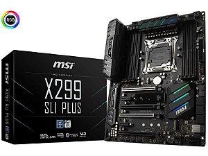 Placa Mae Msi X299 SLI PLUS ATX DDR4 RGB 4133MHZ M.2 CROSSFIRE LGA 2066