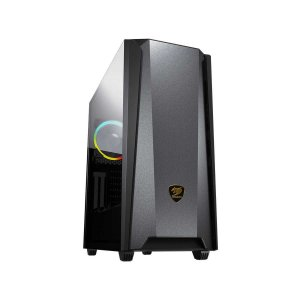 Gabinete Gamer Cougar MX660 Iron RGB, Black, Mid Tower, 1 Fan ARGB, Sup GPU Vert