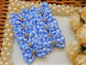 LAÇO JOY DE TECIDO - Triangulo Azul Bebê