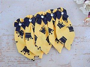 GRAVATA SOCIAL DE TECIDO JOY - Amarela Coroa Preta