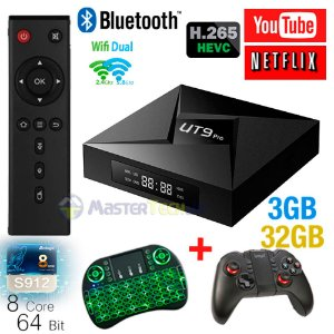 Tv Box Ut9 Pro 4k 3gb/32gb Bluetooth Android 7.1 + Ipega 9068 + Teclado LED