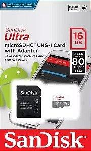 Cartão de Memória Sandisk 16gb Micro Sdhc Classe 10 Ultra 80mbs
