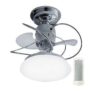Ventilador de Teto Treviso Atenas Cromado C/ Controle Remoto e LED 18W Bivolt