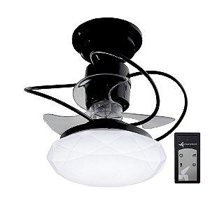 Ventilador de Teto Treviso Cancun Preto C/ Controle remoto e LED18W Bivolt