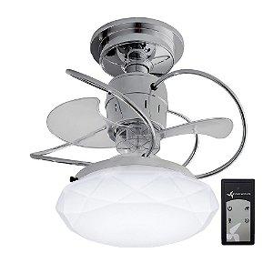ventilador de Teto Treviso Cancun Cromado C/ Controle Remoto e LED18W