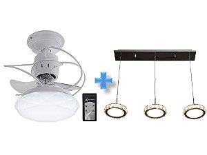 Ventilador de Teto Treviso Cancun Branco + Pendente LED