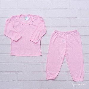 Conjunto Camiseta Manga Longa Poliviscose Rosa