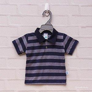 Camisa Polo Marinho com Cinza