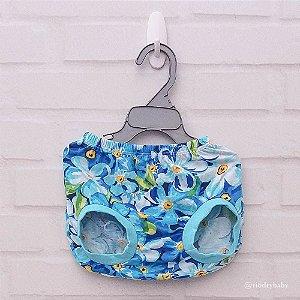 Tapa Fralda Floral Azul