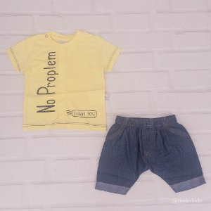 Conjunto  No Problem Camiseta/Bermuda Jeans.