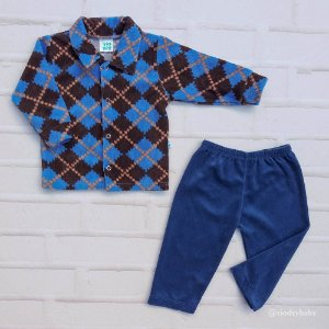 Conjunto Plush Cotelê Azul